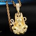 Voll AAA Iced Out Bling Cubic Zirkon Kupfer Ägypten Ankh Kreuz Anubis Anhänger & Halsketten Für Männer HIP Hop Schmuck großhandel