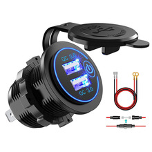 Quick Charge 3.0 Dual USB Power Outlet with Touch Switch Waterproof 12V/24V USB Charger Socket DIY Kit for Car Boat Marine Bus