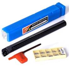 10 Uds. CCMT09T3 insertos de acero + Barra de perforación de S16Q SCLCR09 de 180mm soporte de herramienta de torneado con llave T15 para semiacabado