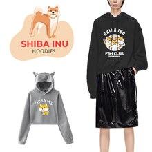 Women hoodies japanese cute funny shiba inu printed fun streetwear