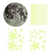 435 шт флуоресцентные настенные наклейки светящиеся звезды/луна/звезды/точки