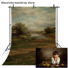 リバーサイドの風景を背景写真ヴィンテージ油絵のファーム新生児ポートレート写真撮影