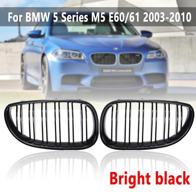 2 pçs linha dupla grelhas de rim apto para bmw série 5 m5 sedan e60/e61 2003 2010 grills dianteiros brilho/fosco