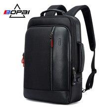 BOPAI zaino da uomo in pelle nera zaino con ricarica USB borse da scuola tasca nascosta antifurto zaino per Laptop da uomo Sac a Dos
