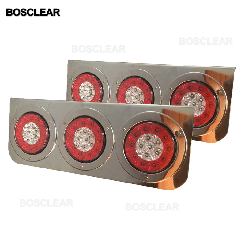 Red Yellow White 12V Car Round Tail Lights Turn Signal Light Running Rear LED Reflectors Truck Side Warning Tail Lights Bosclear