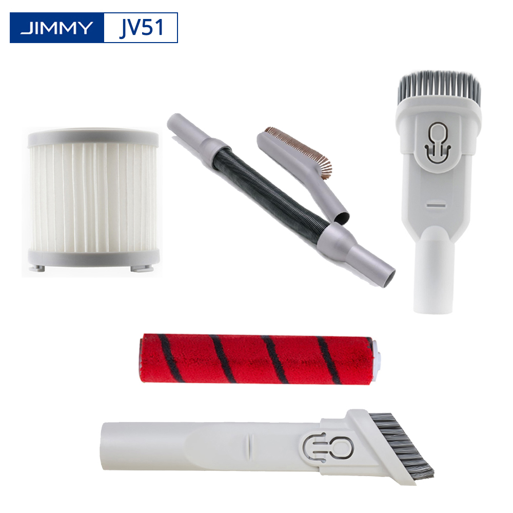 Original  JIMMY JV51 Vacuum Cleaner Accessories Crevice Tool HEPA Filter Rolling Brush Dusting Brush Stretch Hose Soft Brush Kit