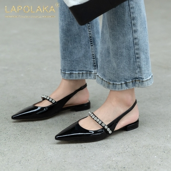 Lapolaka 2020 New Arrivals Genuine Cow Leather Pointed Toe Slip-On Casual Sandals Woman Shoes Crystal Low Heels Summer Sandals