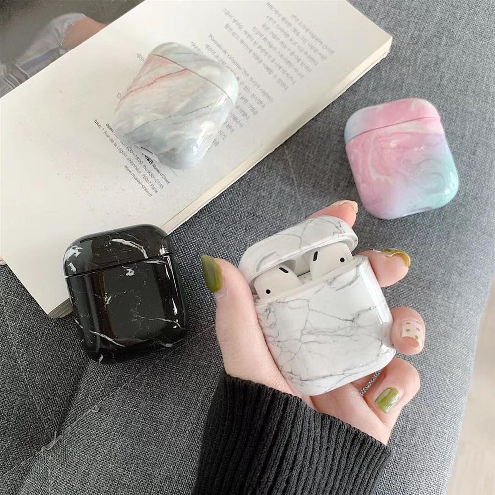 Fall Für Original Apple Airpods Fall Marmor Nette Abdeckung Für Apple Airpods 2 1 Fällen Zubehör Kopfhörer Luft Schoten Fall box Coque