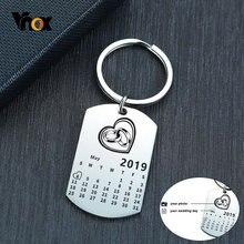 Vnox – porte-clés calendrier personnalisé, cadeaux pour amoureux, promesse d'amour, en acier inoxydable, Souvenir, étiquette d'identification, bijoux personnalisés