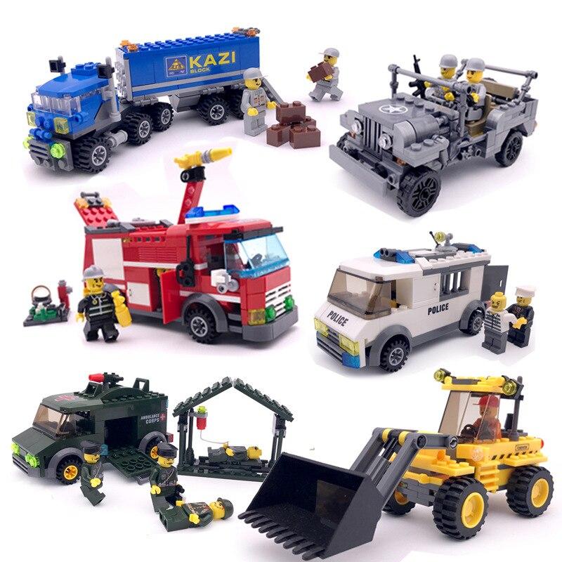 Compatible Legoinglys City Fire Fighting Transport Dumper Excavator Truck Model Building Blocks Enlighten Toys For Children Gift