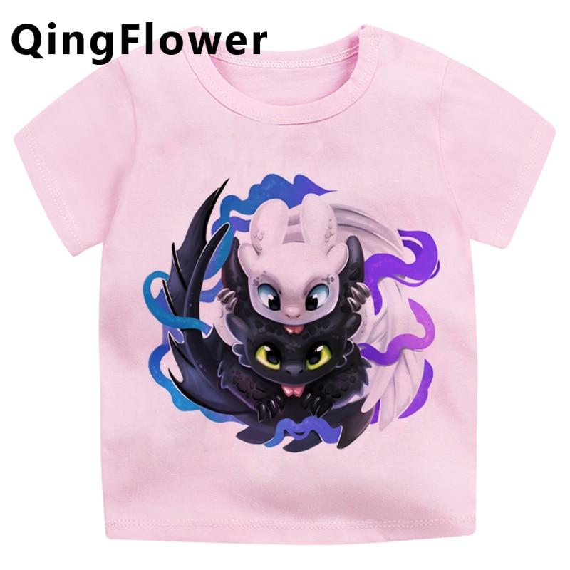 Como treinar o seu dragão kawaii verão camiseta meninos meninas sem dentes bonito anime camiseta gráfico crianças t camisa novo topo t