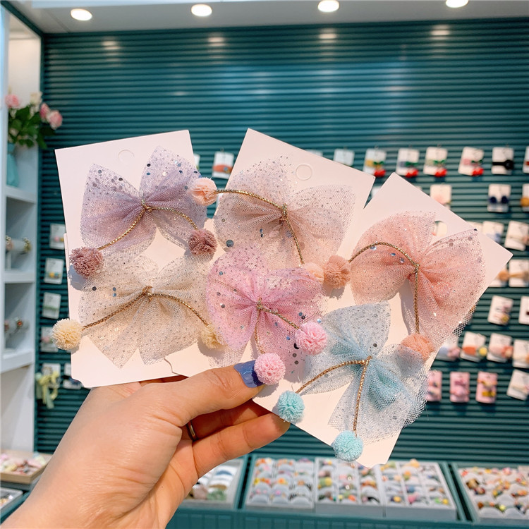 Spring Summer New Korean Simple Children's Handmade Bow Hair Clip Little Girl's Sequin Mesh Bow Tie Edge Clip Princess Hair Clip