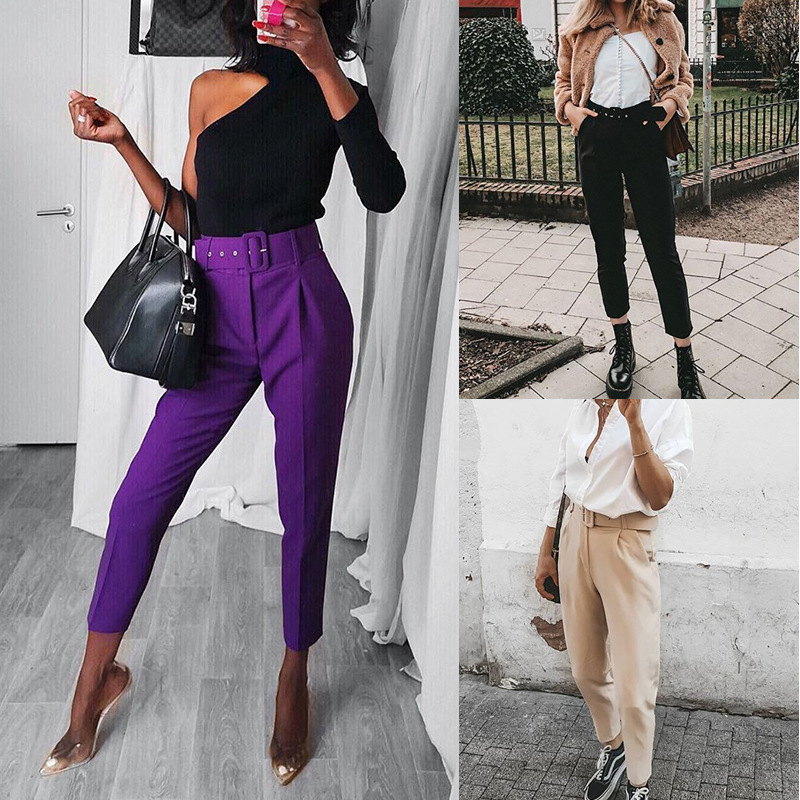 Fashion Thin Spring Autumn 2020 Solid Color Harem Pants Ladies Trousers New Casual Loose With Sashes Hot Sale Splice Pants Women