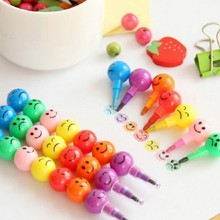 7 Colors Crayons Creative Sugar-Coated Haws Cartoon Smiley Graffiti Pen Stationery Gifts For Kids Wax Crayon Pencil