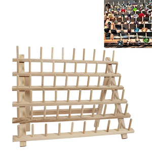Image 5 - Wooden Sewing thread spool holder Tool Thread Rack Wooden Organizer Sewing 60 spool Thread Holder Frame
