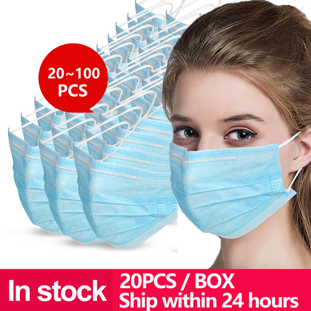 1*20pcs gas 3 Layer protective Disposable Earhook Masks Dust Mouth protection Face Mask flu facial filter shield Mask 20~100 pcs