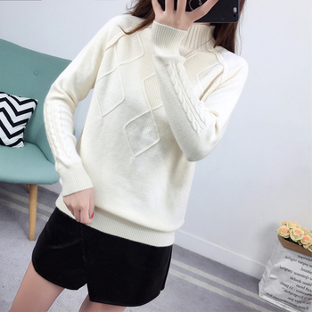 Ailegogo Sweaters 2019 Autumn Winter Solid Thick Turtleneck Casual Ladies Knitted Sweater Pullovers Women's Jumpers Tops 1
