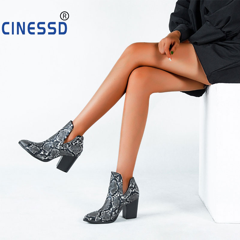 Size 43 Lady Western Boots Women Elastic Snake Leather Square High Heels Short Cowgirl Booties Ankle botas Cossacks Shoes