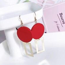 Boucles d'oreilles en bois pour femmes, pendentif carré, en métal doré, rouge, vert, à la mode, 2020