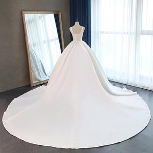 Image 2 - Fansmile Raso Vestido de Noiva Vestito Da Cerimonia Nuziale Elegante Corsetto 2020 Lungo Treno Da Sposa Abiti Da Ballo Più Il Formato Su Misura FSM 047T