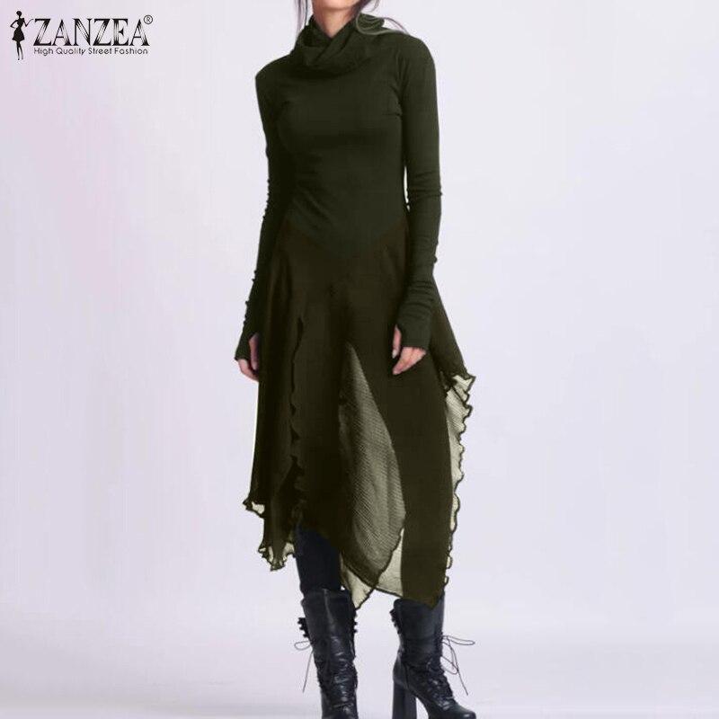 Fashion ZANZEA Women Turtleneck Chiffon Pacthwork Blouse Spring Solid Long Tops Slim Blusas Asymmetrical Shirt Casual Chemise