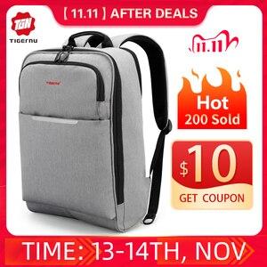 Image 1 - Tigernu Big rabat Casual Men 15.6 cala z zabezpieczeniem przeciw kradzieży plecak na laptopa torba moda plecak z USB męski plecak szkolny dla mężczyzn