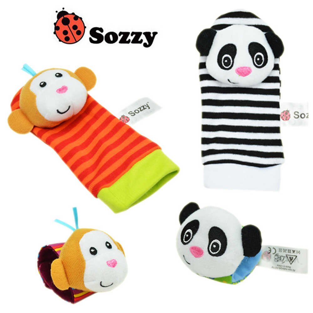 1pc Soft Cartoon Animal Infant Baby Rattles Toys Random Color Baby Kids Socks Rattle Toys Infant Newborn Toys Soft Plush Sock