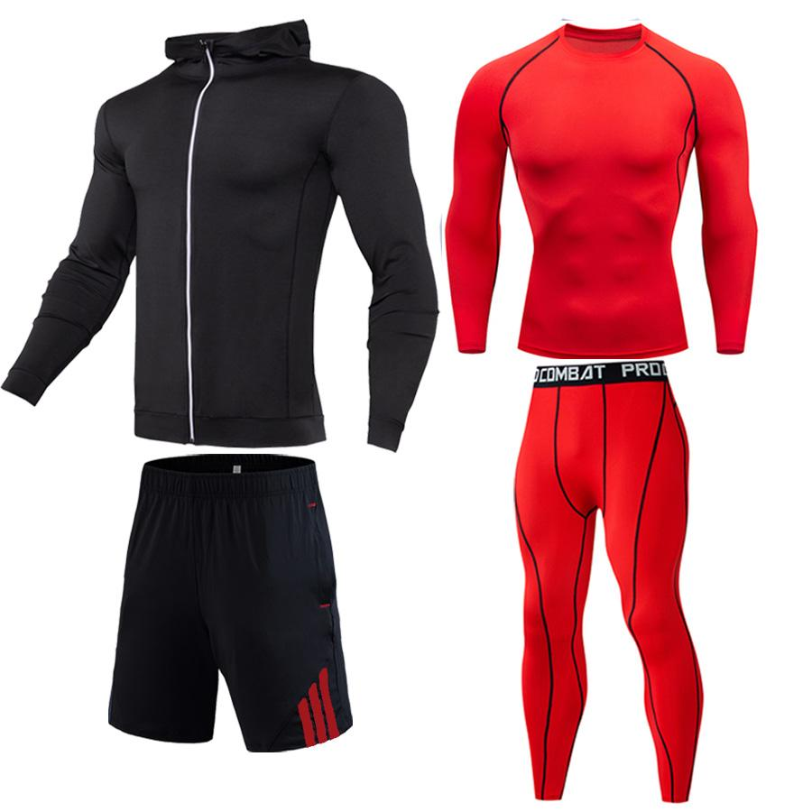 Men Workout Clothes Set New Autumn Winter Outdoor Sports Jogging Suit Men's Full Suit Tracksuit Compression Fitness Tights S-4XL