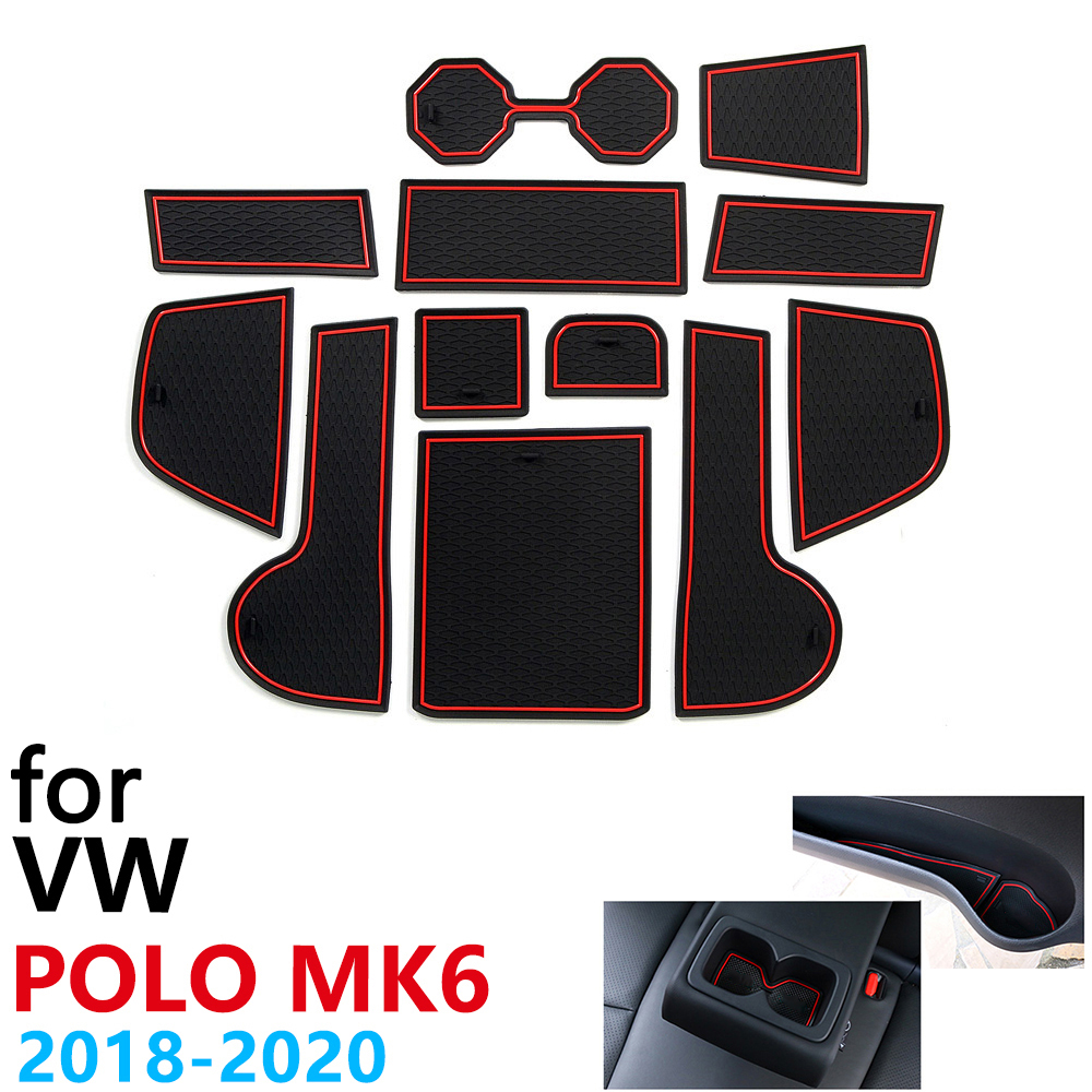 Anti-Slip Rubber Cup Cushion Door Groove Mat for VW POLO MK6 Volkswagen 2018 2019 2020 Accessories Car Stickers mat for phone