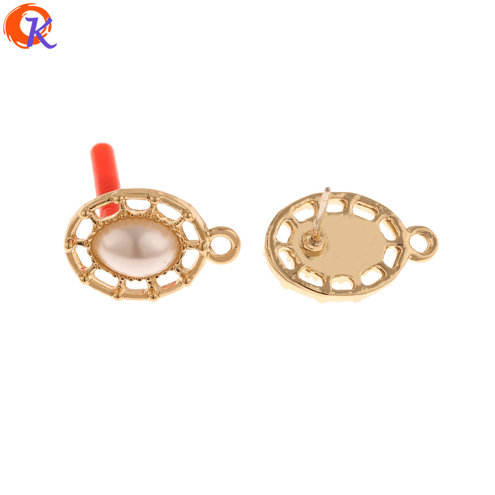 Cordial Design 100Pcs 11*17MM Jewelry Making/Earrings Stud/Oval Shape/Imitation Pearl/DIY Accessories/Hand Made/Earring Findings