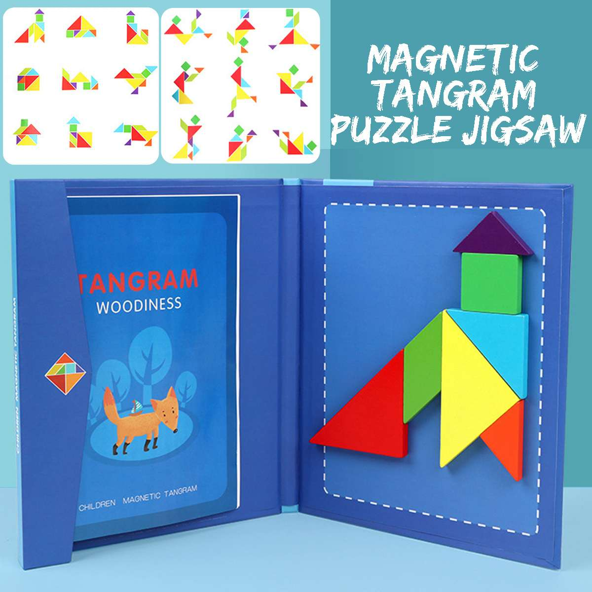 Magnetic Wooden 3D Jigsaw Puzzle Tangram Book Kids Montessori Educational Toys Children Learning Intelligent DIY Board Game IQ