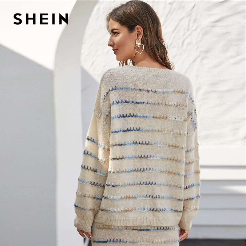 SHEIN Beige Tie Dye Drop Shoulder Oversized Casual Sweater Women Tops Spring High Street Whipstitch Detail Stretchy Sweaters 2