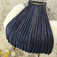 Spring Women Elegant Design Pleated Skirt Solid Color Fashion Luxury Velvet Bling Bling Midi Skirt High Quality