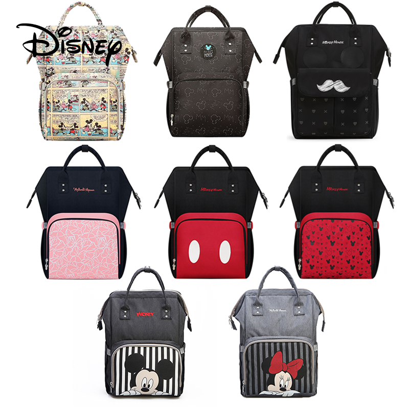 Disney Minnie Mummy Maternity Nappy Bag Brand USB Heater Large Capacity Baby Bag Travel Backpack Desinger Nursing Bag Baby Care