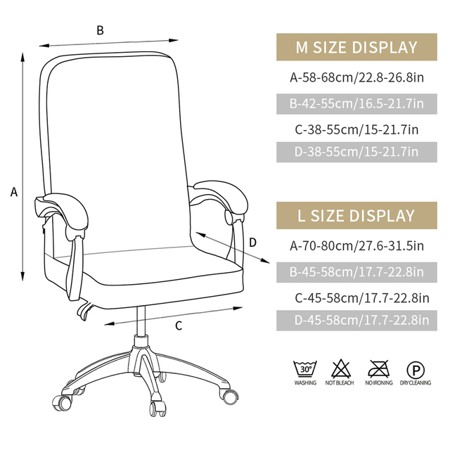 M/L Geometry Printed Elastic Stretch Office Computer Chair Cover Dust-proof Game Chair Slipcover Rotatable Armchair Protector 6