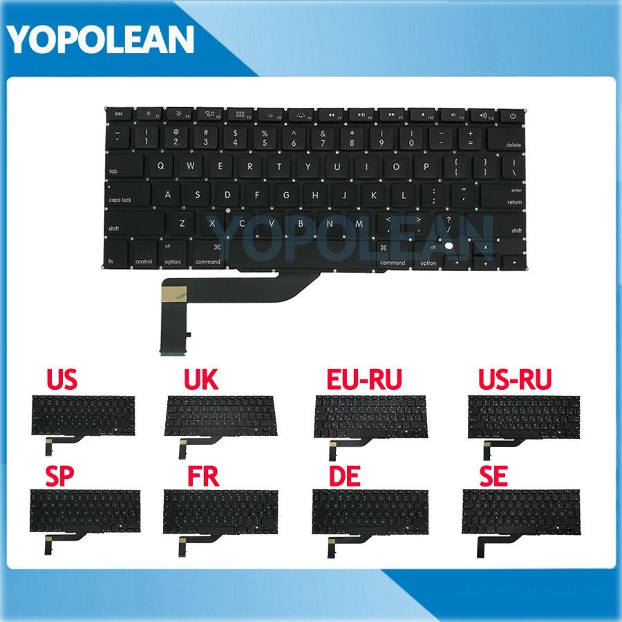 Новая английская, русская, испанская, французская, немецкая, шведская сменная клавиатура для Macbook Pro Retina 15 дюймов A1398 2012 2013 2014 2015