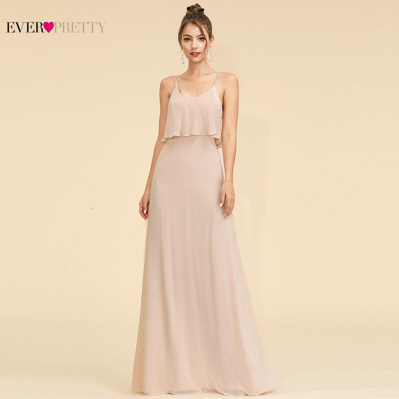 Elegant Evening Dresses Long Ever Pretty A-Line Spaghetti Straps Sleeveless Ruffles Cheap Chiffon Formal Party Gowns Vestidos