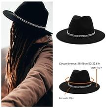 Sombrero Fedora de ala ancha negro para hombre y mujer, sombrero Formal de fiesta Trilby estilo británico, sombrero Panamá, vaquero, otoño e invierno, venta al por mayor