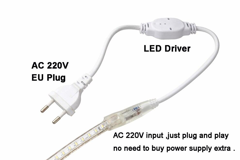Hdfbb6f9282e941f0af75b4dc3696fdeeo Super bright LED Strip 220V IP67 Waterproof 120LEDs/M SMD 3014 Flexible Light + Power Plug For outdoor garden tape rope