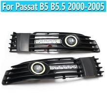1 par anjo olho luz de circulação diurna frente do carro luzes nevoeiro grille com led lâmpada luz para passat b5 b5.5 2000-2005