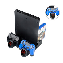 купить Charger PS4/PS4 Slim/PS4 Pro Dual Controller Charger Console Vertical Cooling Stand Charging Station Dock For SONY Playstation 4 онлайн