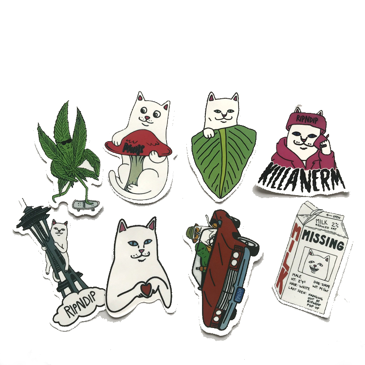 8 шт./лот забавные Ripndip средний палец кошки наклейки; классические игрушки ноутбук чемодан для скейтборда автомобиля Наклейка на мотоцикл