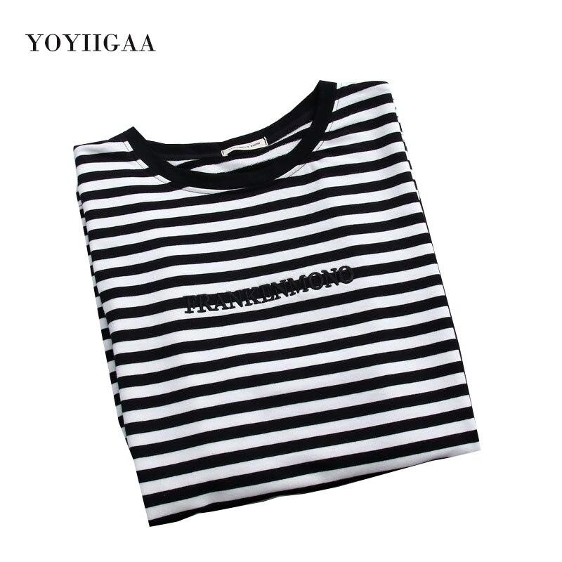 Camiseta listrada feminina, 2 peças, blusa feminina