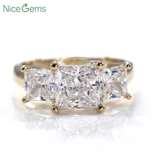 NiceGems 14K Yellow Gold Princess Cut Three Stone Ring Center 1.5CT 6.5mm D Color 3CTW Moissanite Diamond Engagement Ring VVS1