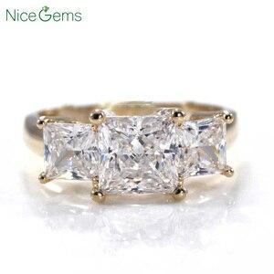 Image 1 - NiceGems 14K żółte złoto księżniczka Cut pierścień z trzema kamieniami centrum 1.5CT 6.5mm D kolor 3CTW Moissanite diamentowy pierścionek zaręczynowy VVS1