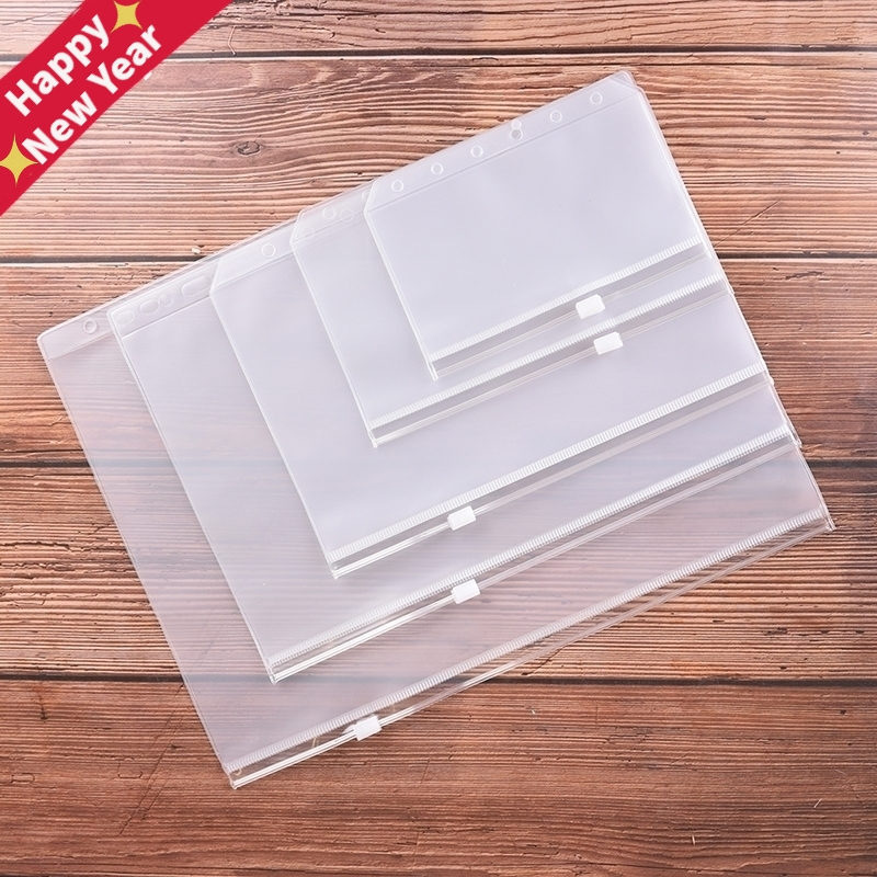 A4 A5 A6 A7 B5 File Holders Standard 6 Holes Transparent PVC Loose Leaf Pouch With Self-Styled Zipper Filing Product Binder
