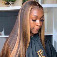 #4 30 Highlight Color Human Hair Wigs Pre Plucked Malaysian Straight Human Hair Wigs For Black Women Glueless Human Hair Wigs tanie tanio Mellow Średni Proste Koronki przodu peruk Remy włosy Pół maszyny wykonane i pół ręcznie wiązanej Ciemniejszy kolor tylko