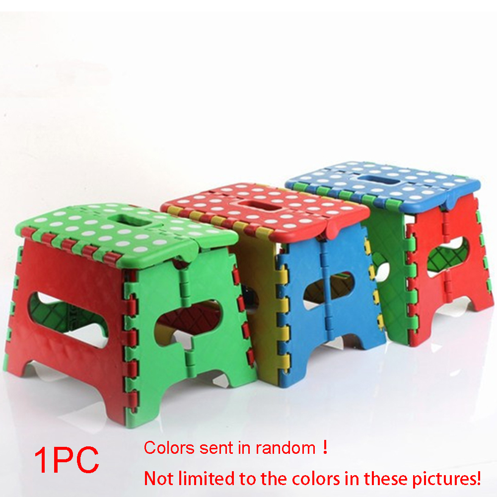 Hinmay Small Folding Step Stool Plastic Multi Purpose Slip Resistant Top Step Foldable Easy Storage Home Kitchen - 22*17*18cm