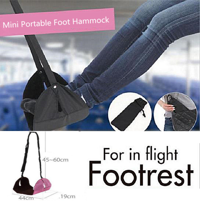 1pc Portable Mini Foot Rest for In Fight Office/home Foot Hammock Black Feet Hanger Hammock Travel Airplane Footrest image