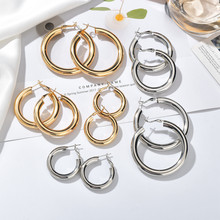 2019 New Minimalist Gold Metal Large Circle Geometric Round Big Hoop Earrings For Women Girl Wedding Party Jewelry(China)